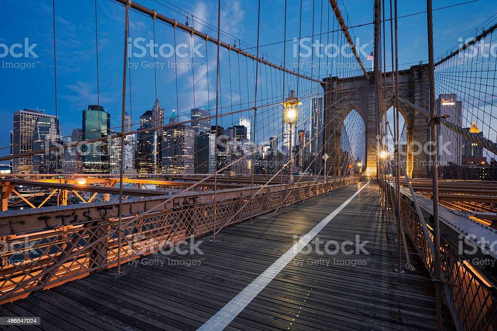 Brooklyn Bridge at sunrise stock photo