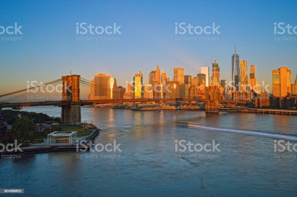 Brooklyn Bridge at sunrise. stock photo