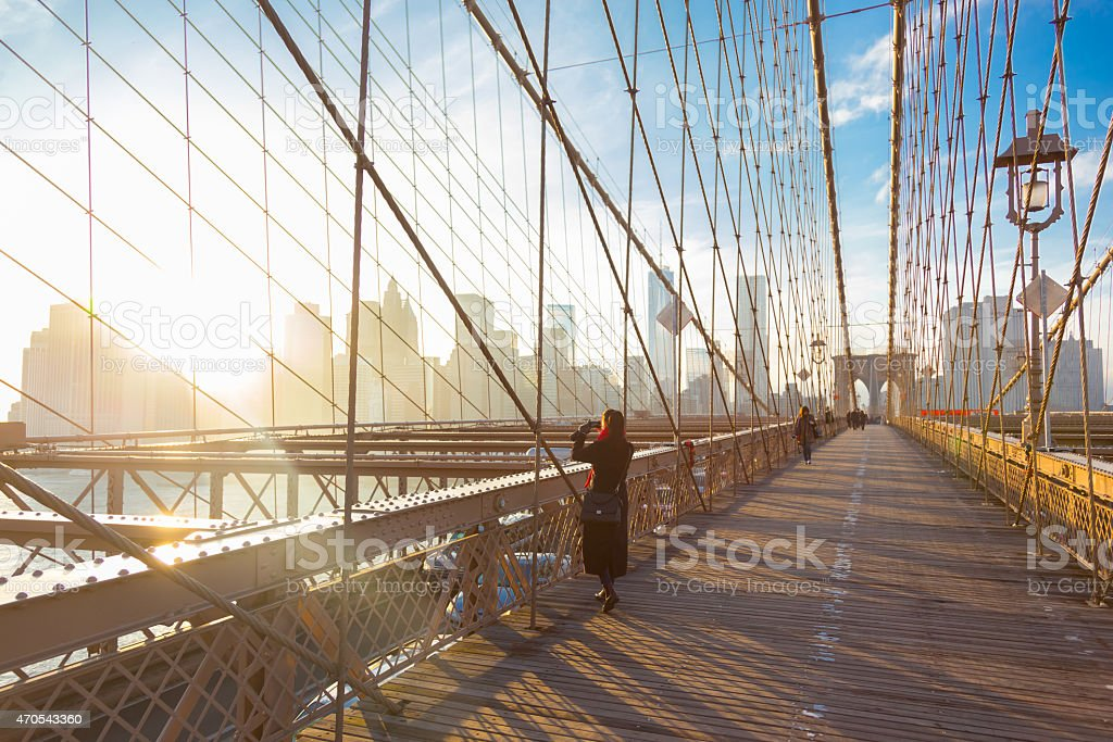 Brooklyn-Brücke bei Sonnenuntergang, New York City. – Foto