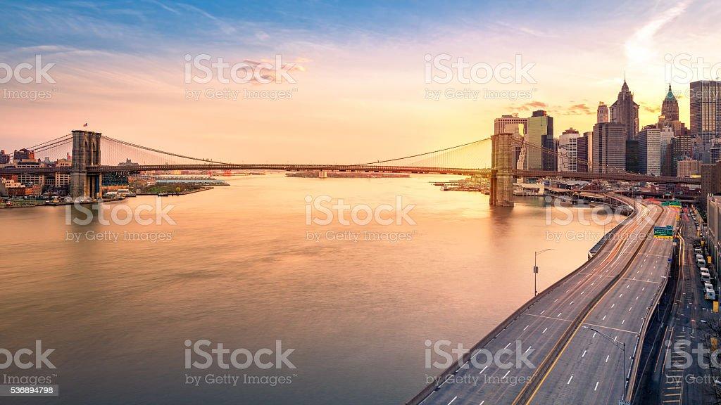 Brooklyn Bridge at sunset stock photo
