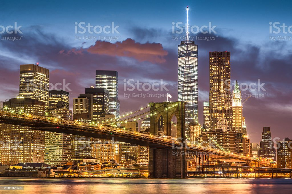 Brooklyn Bridge at twilight time, New York City stock photo