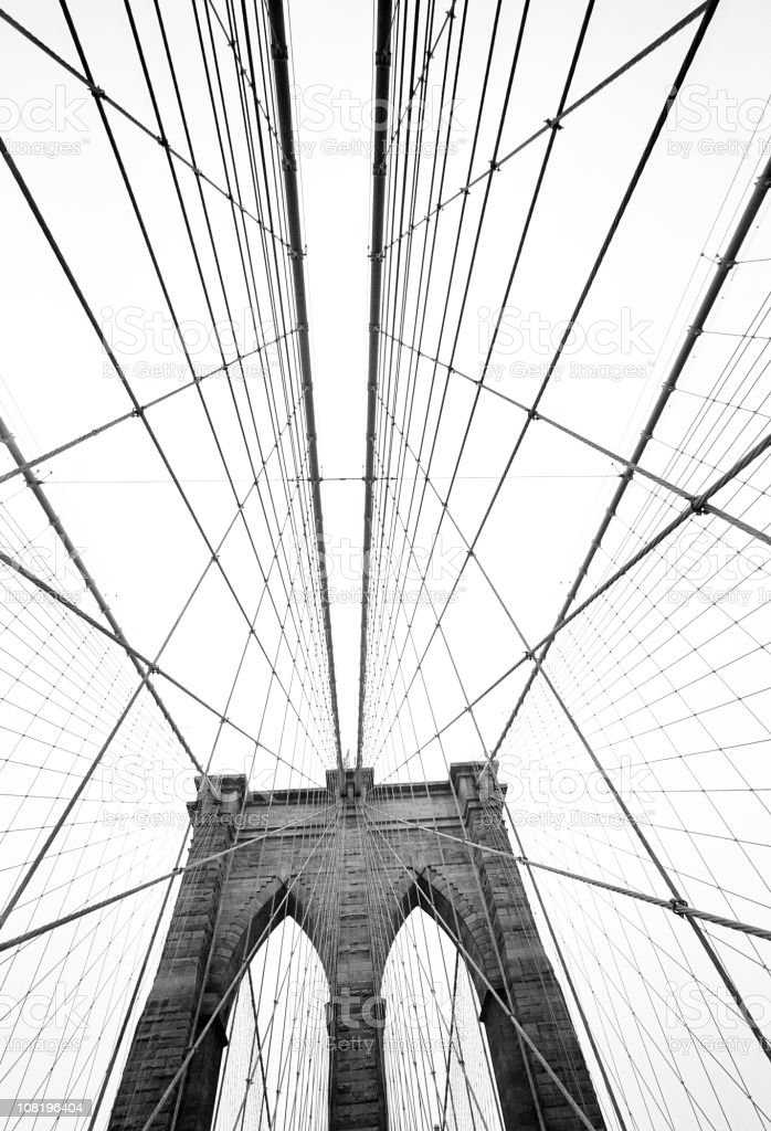 Brooklyn Bridge, Black and White royalty-free stock photo