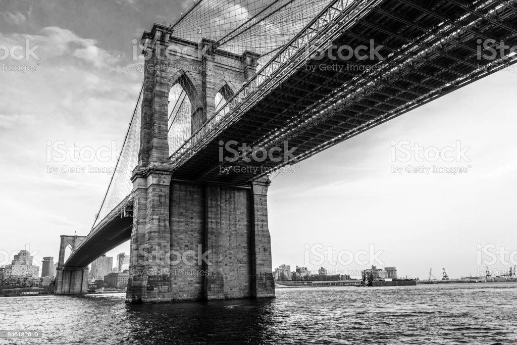 Brooklyn Bridge - Black & White stock photo