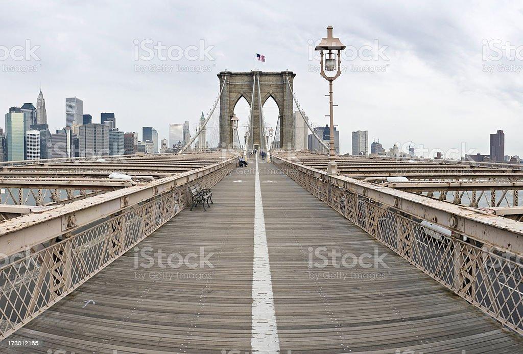 Brooklyn Bridge boardwalk New York royalty-free stock photo