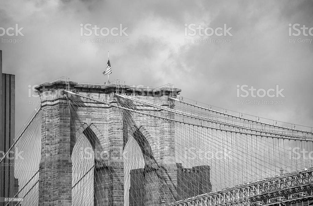 Brooklyn Bridge bridge connects Manhattan and Brooklyn across East River stock photo