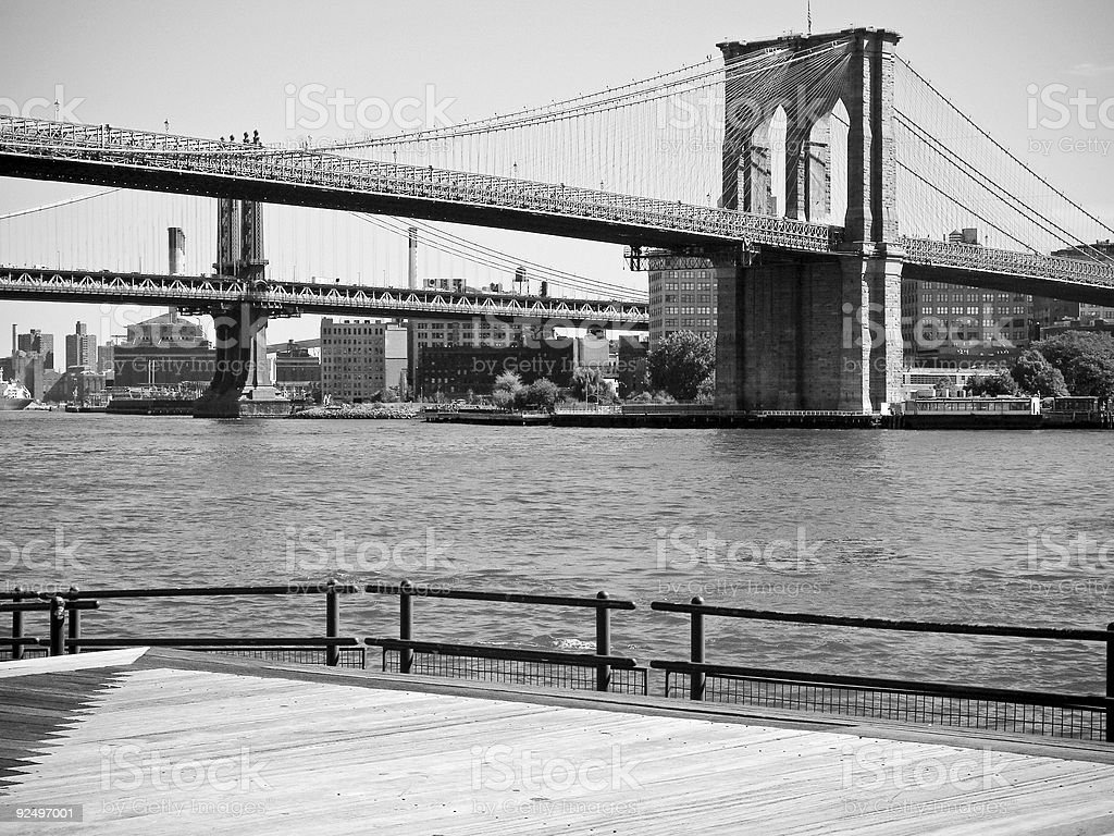 Brooklyn Bridge BW royalty-free stock photo