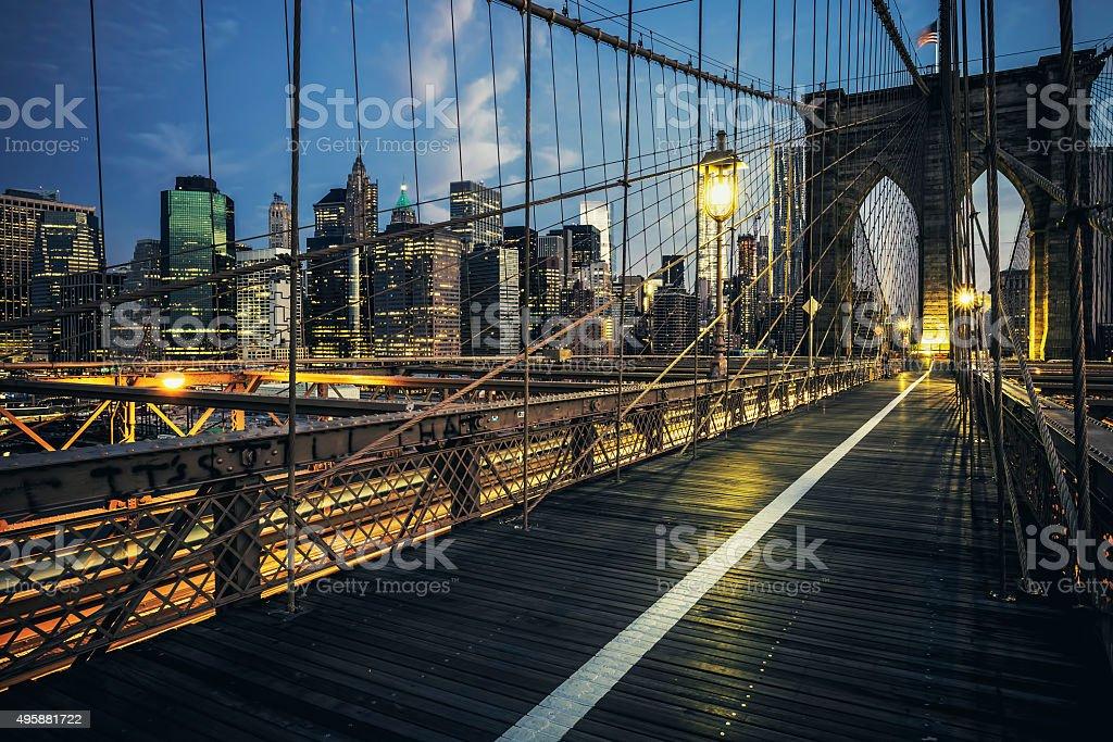 Brooklyn Bridge by night stock photo