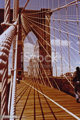 A view up the cables of the Brooklyn Bridge