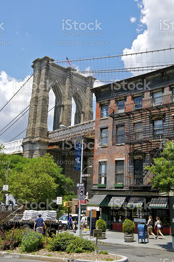 Brooklyn Bridge cityscape, Old Fulton Street, New York City stock photo