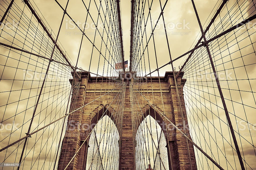 Brooklyn Bridge Close up with Sepia Filter, New York, USA stock photo