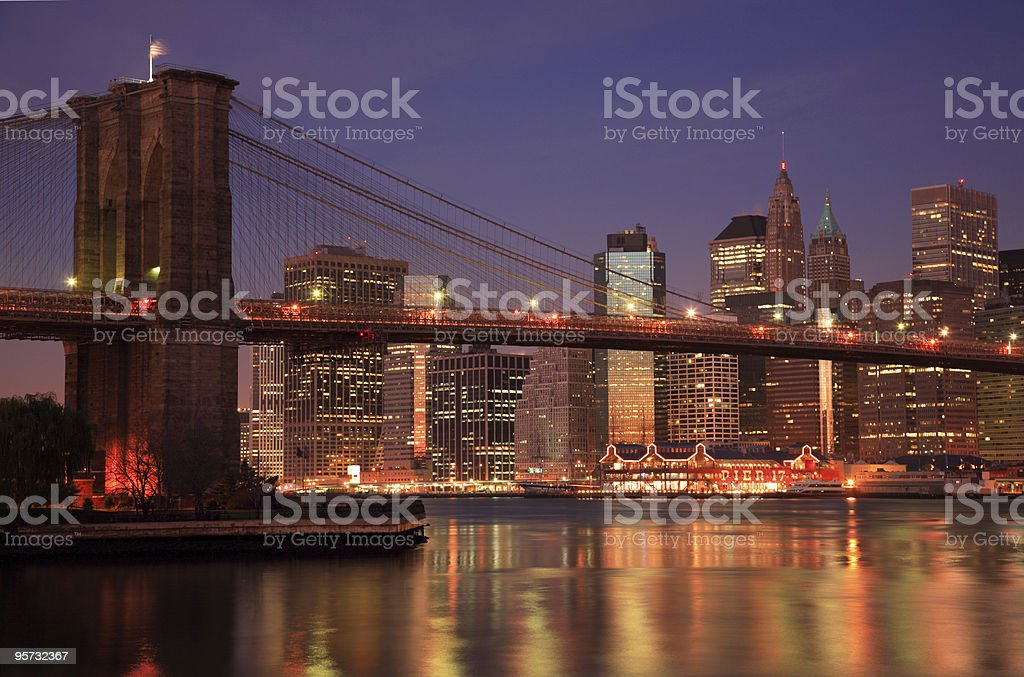 Brooklyn Bridge Dusk, New York, USA royalty-free stock photo