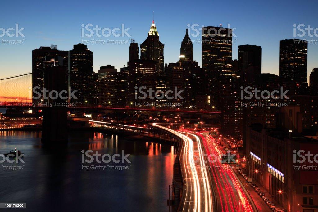 Brooklyn Bridge, FDR and Downtown Manhattan royalty-free stock photo