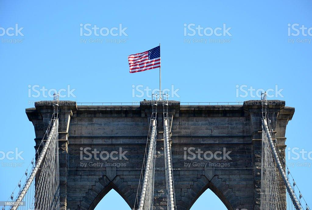 Brooklyn Bridge Flag stock photo
