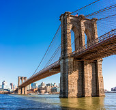 The iconic Brooklyn Bridge, with the buildings of Brooklyn in the distance.