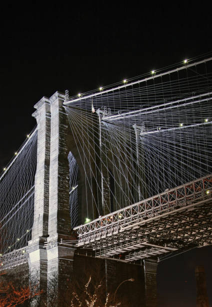 Brooklyn Bridge Illuminated At Night stock photo