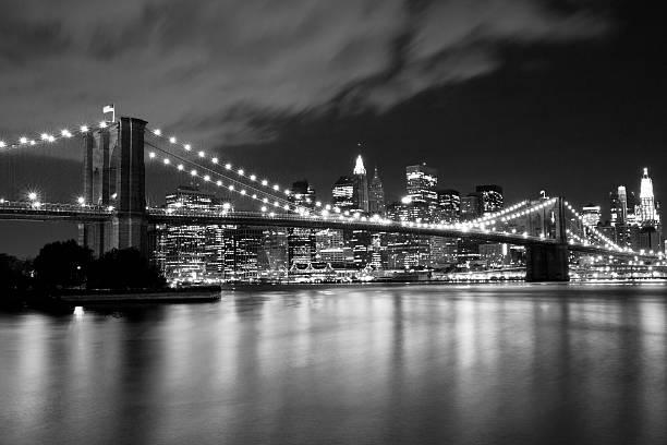 Brooklyn Bridge in black and white stock photo