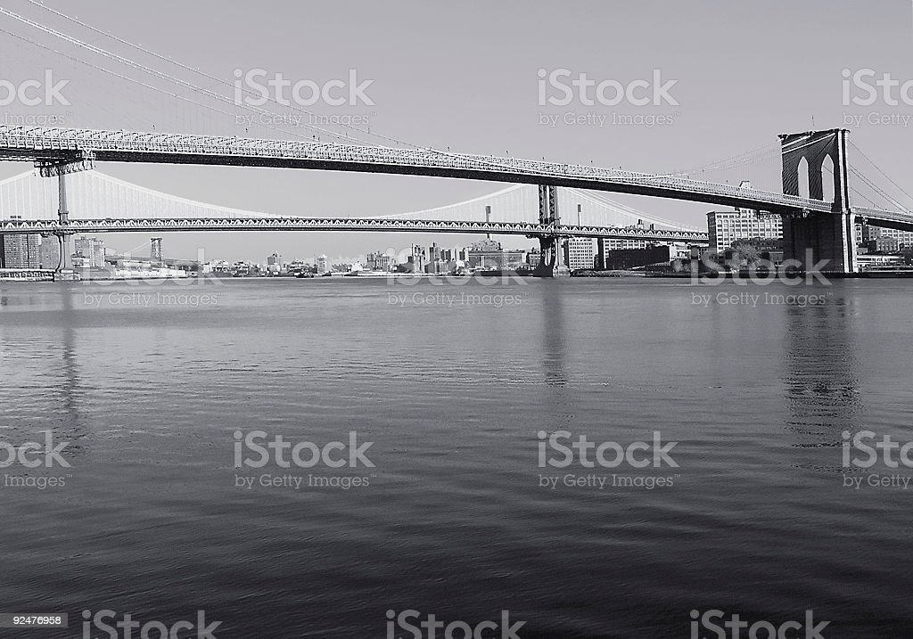 Brooklyn Bridge in black and white royalty-free stock photo