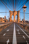 Pedestrian path over the Brooklyn Bridge connecting Manhattan New York City over the East River