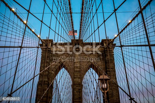 Low angle view of arch supports and suspension wires of Brooklyn bridge in Manhattan, New York, USA