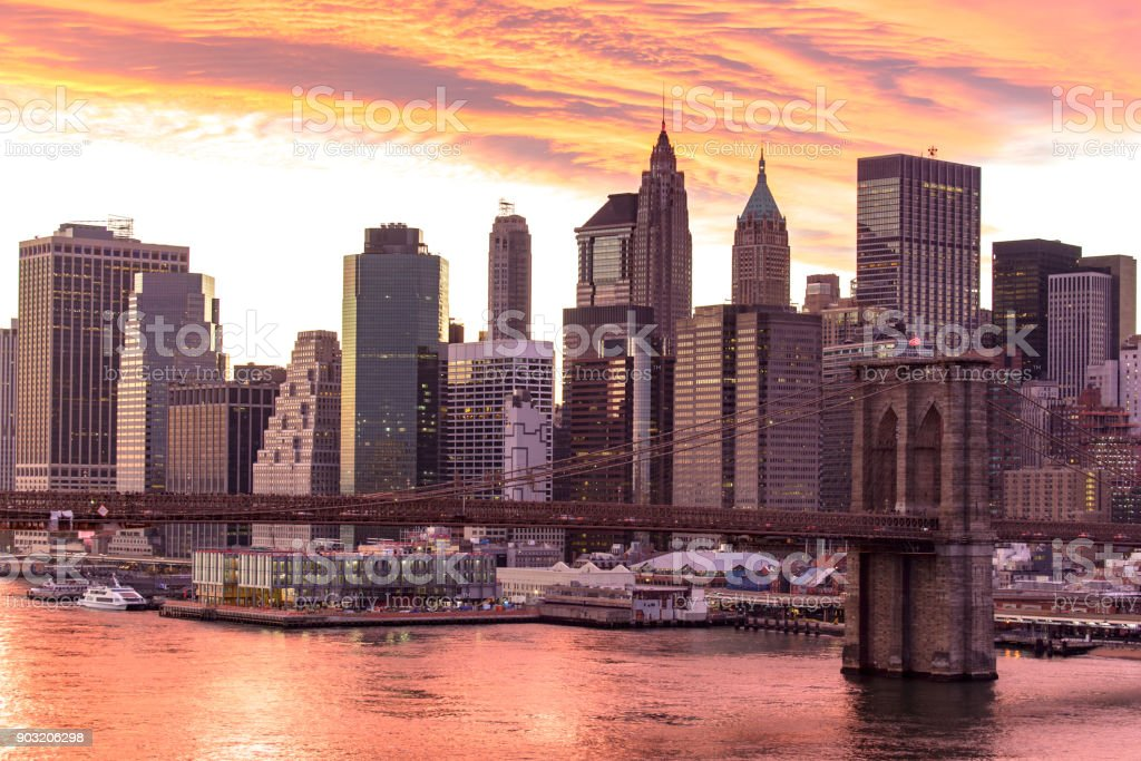 Brooklyn bridge in New york city America stock photo