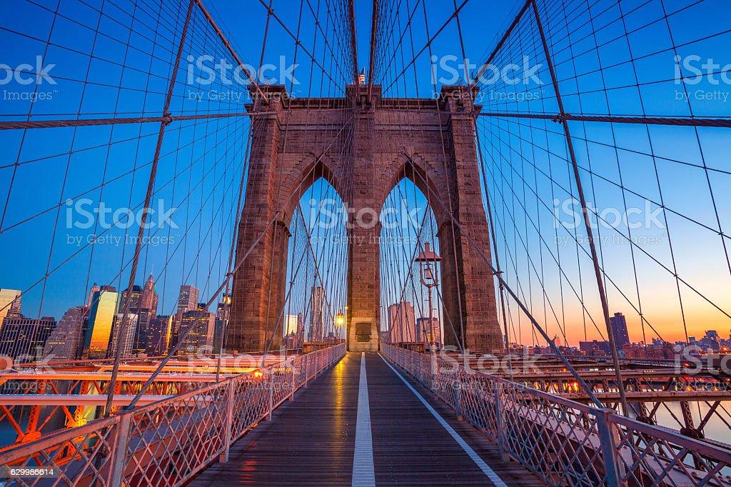 Brooklyn Bridge in New York City. stock photo