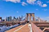 Brooklyn bridge, New York and skyline