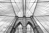 NEW YORK, USA - May 05, 2016: Black and white image of Brooklyn bridge in New York City against sky with clouds