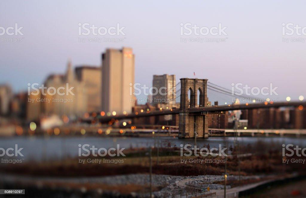 Brooklyn Bridge in the morning stock photo