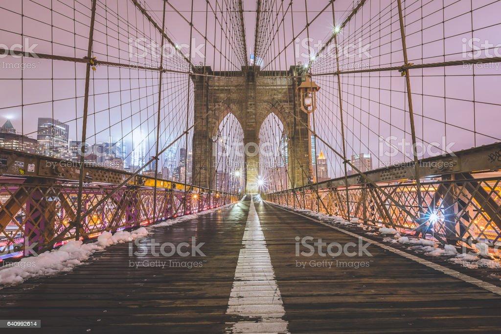 Brooklyn Bridge in Winter stock photo