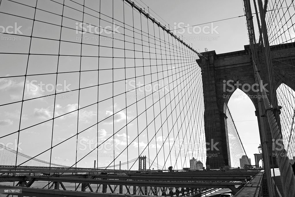 Brooklyn Bridge Lines royalty-free stock photo