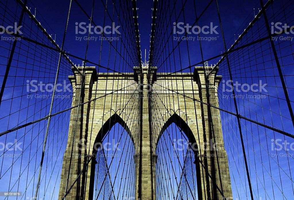 Brooklyn Bridge - low angle, New York, USA stock photo