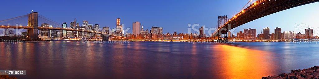 Brooklyn Bridge, Lower Manhattan and the Manhattan Bridge  royalty-free stock photo