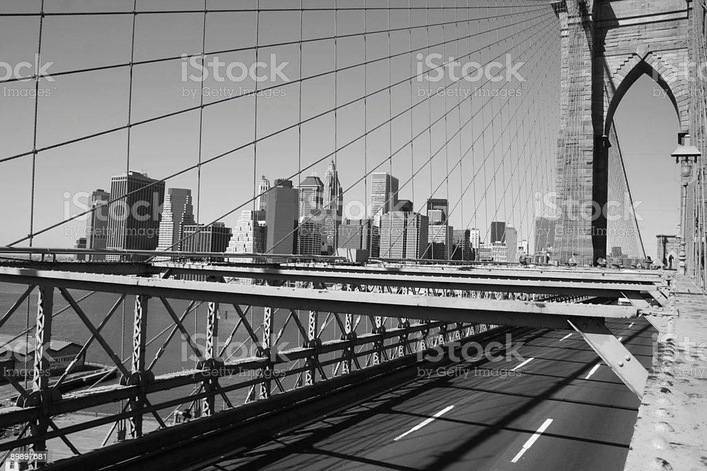 Brooklyn Bridge & Lower Manhattan royalty-free stock photo