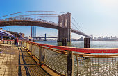 The Brooklyn Bridge is a hybrid cable-stayed/suspension bridge in New York City.