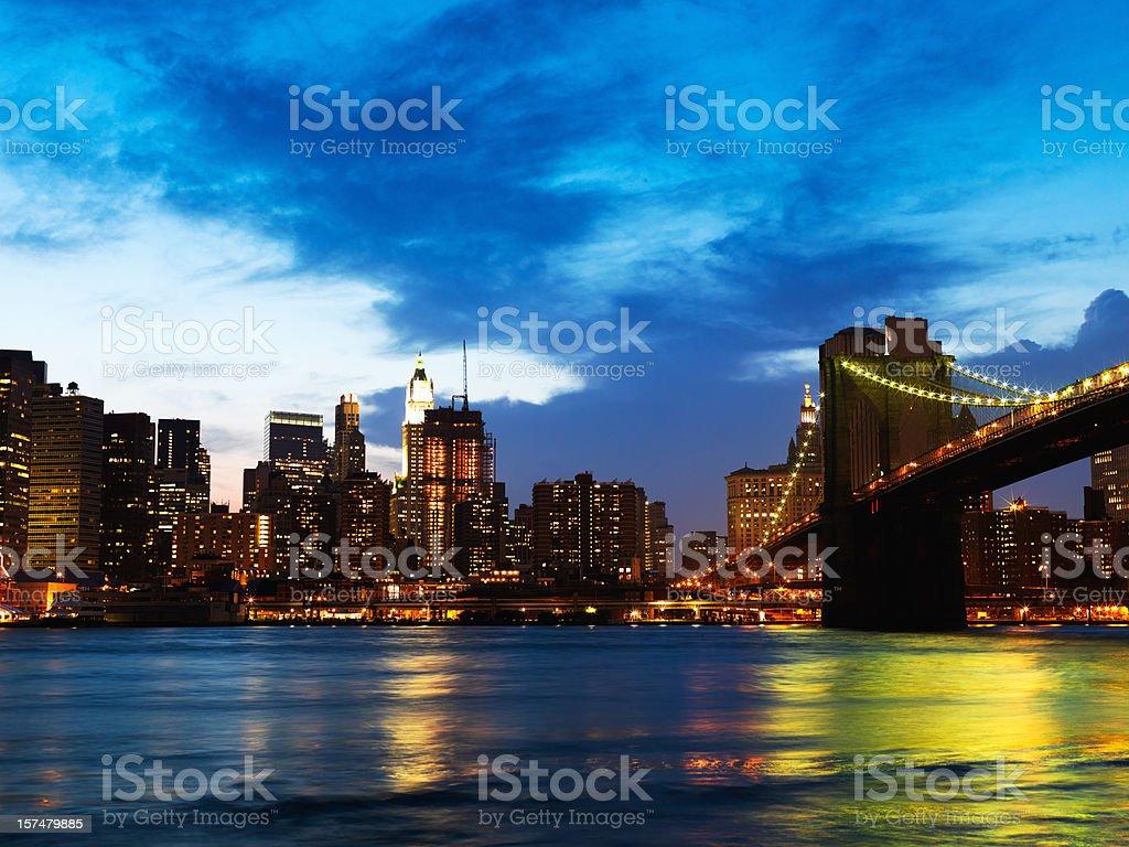 Brooklyn Bridge Manhattan Skyline at Night royalty-free stock photo