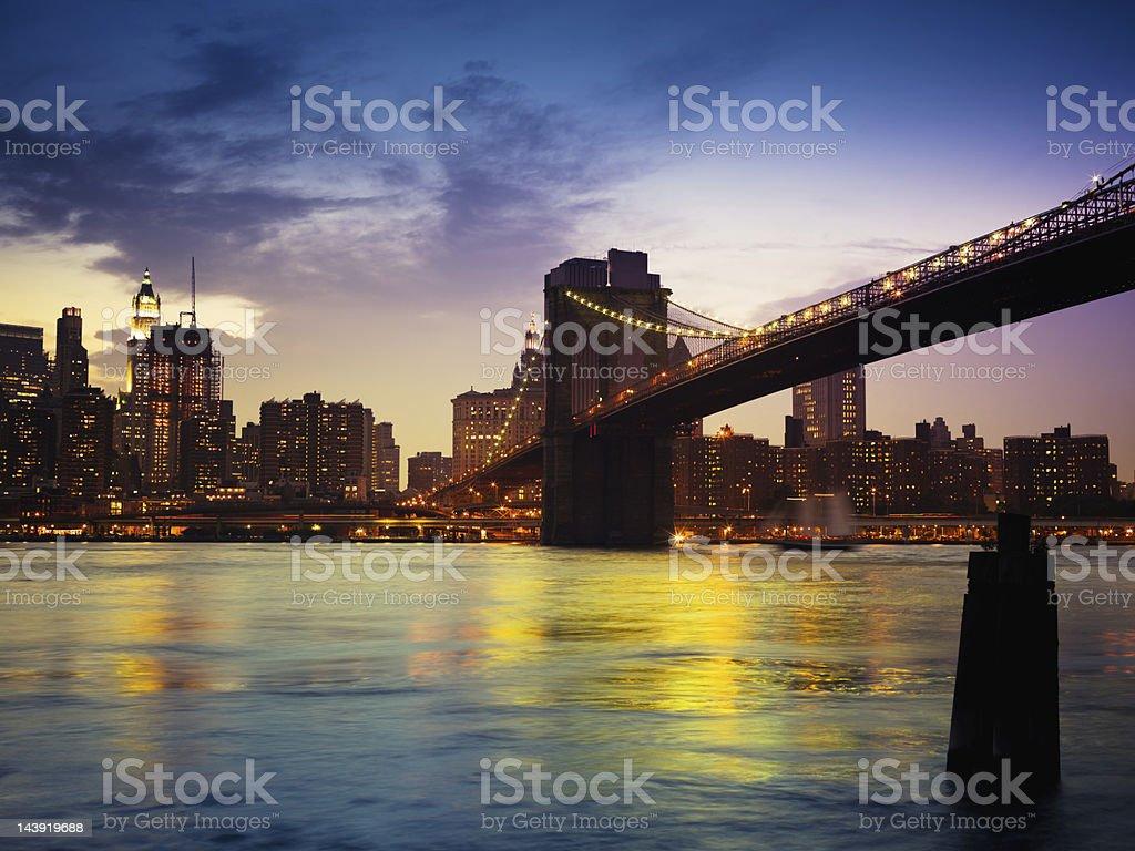 Brooklyn Bridge Manhattan Skyline New York City Illuminated Night Scene royalty-free stock photo