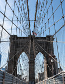 Brooklyn Bridge New York City.  The cables are making intersecting and converging lines.