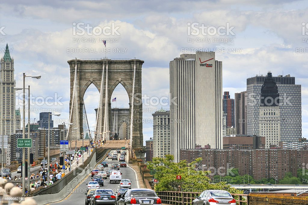 Brooklyn Bridge, New York City. stock photo