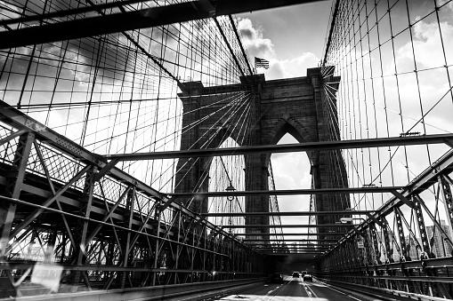 Black and White Retro Styled Image of Brooklyn Bridge, New York City, United States of America.
