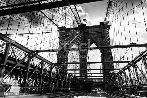 Black and White Retro Styled Image of Brooklyn Bridge, New York City, United States of America.