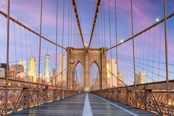 Brooklyn Bridge New York City New York, New York on the Brooklyn Bridge Promenade facing Manhattan's skyline at dawn. new york state stock pictures, royalty-free photos & images