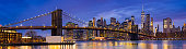Panorama Brooklyn bridge with Lower Manhattan skyscrapers building for New York City in New York State NY , USA
