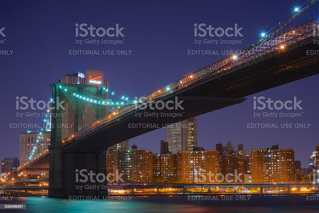 Brooklyn Bridge, Night stock photo