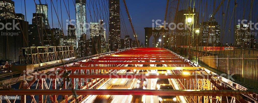 Brooklyn Bridge night traffic royalty-free stock photo