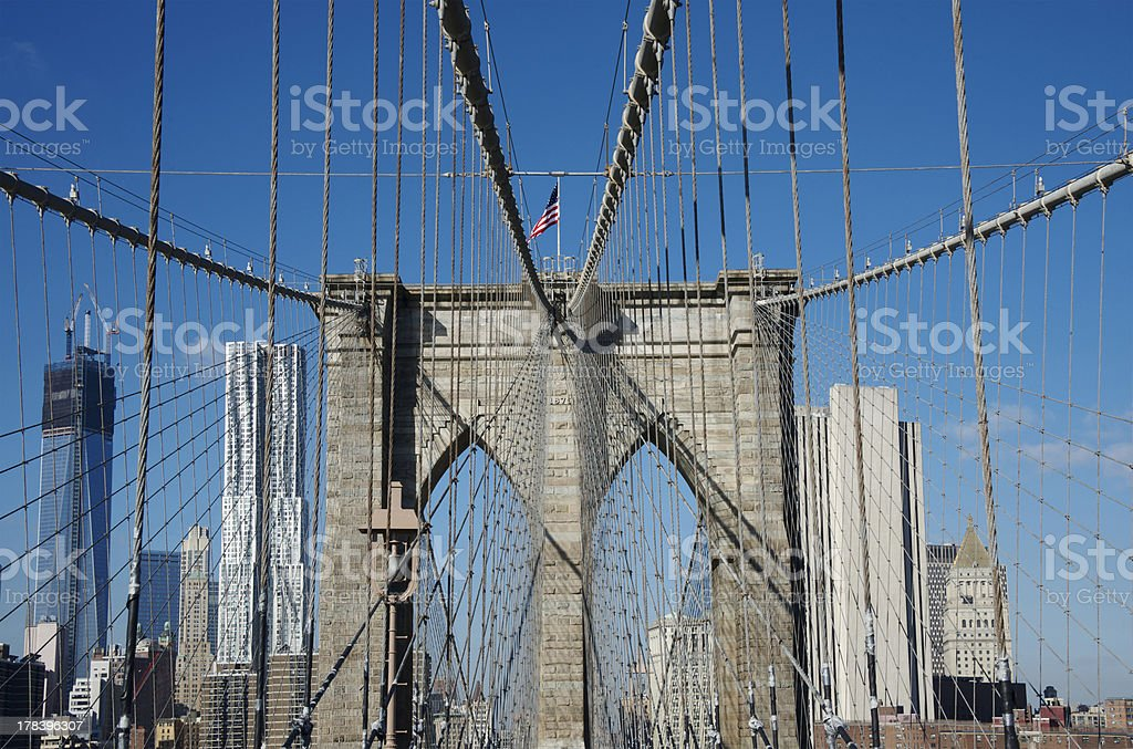 Brooklyn Bridge on a clear day in New York City royalty-free stock photo