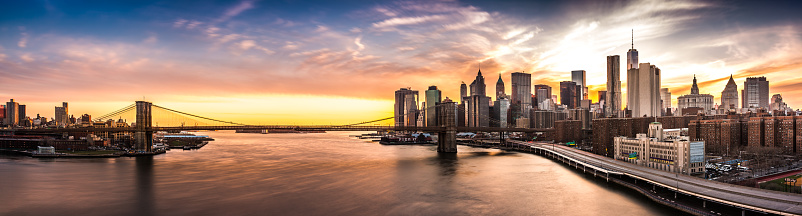 The iconic landmark spans between Brooklyn and the New York Financial District skyline, dominated by the Freedom Tower.