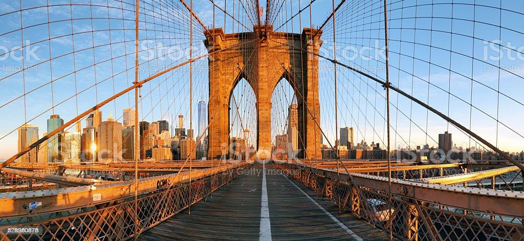 Brooklyn bridge panorama in New York, Lower Manhattan stock photo