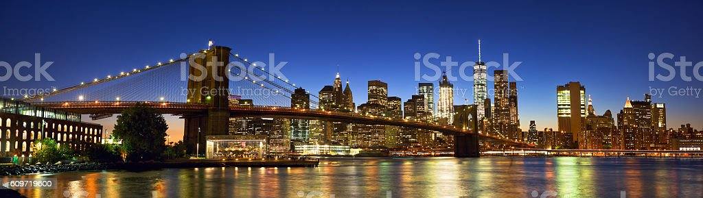 Brooklyn Bridge panorama stock photo