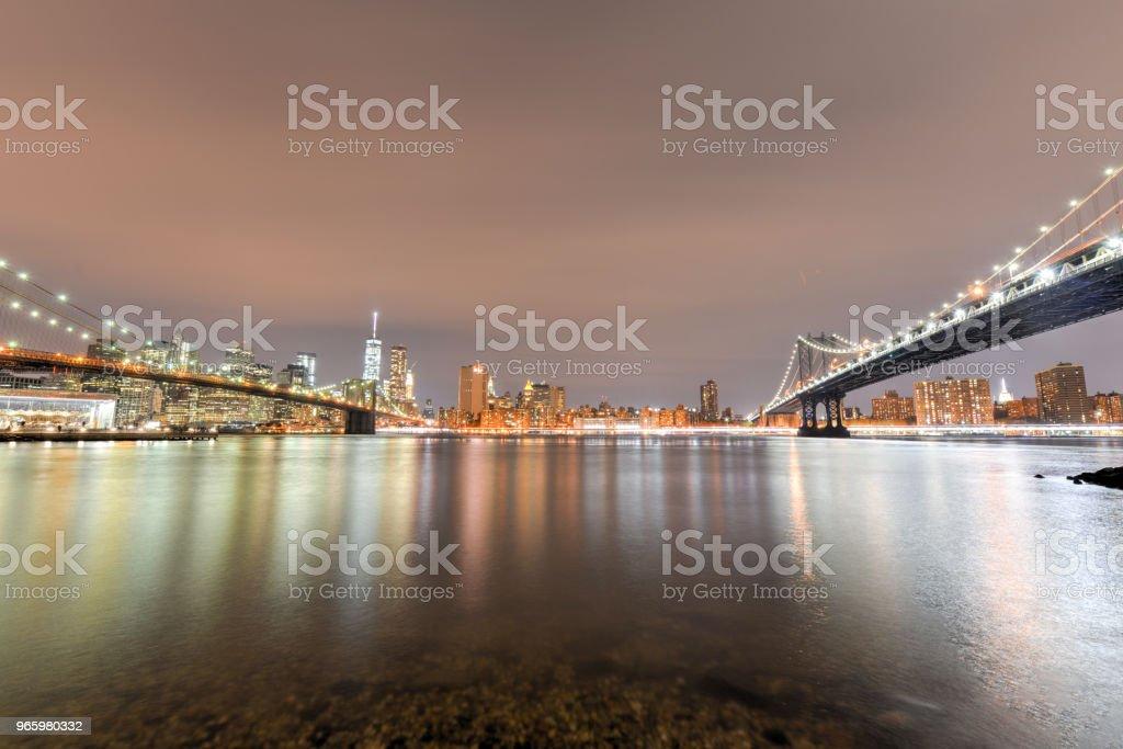 Brooklyn Bridge Park at night - Royalty-free Architecture Stock Photo