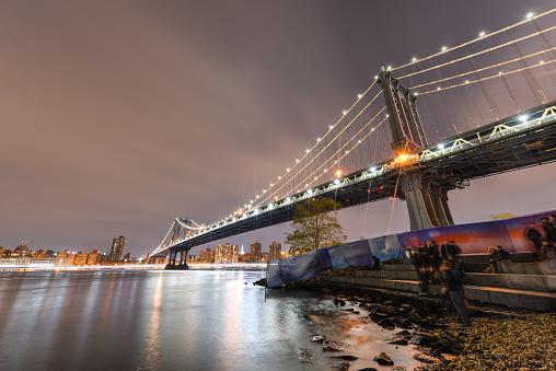 Brooklyn Bridge Park In Der Nacht Stockfoto und mehr Bilder von Abenddämmerung